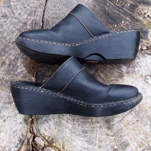 Born Black Leather Slip On Clogs Mules